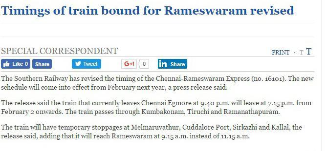 Boat Mail (Rameswaram) Express (PT)/16851 News - Railway Enquiry