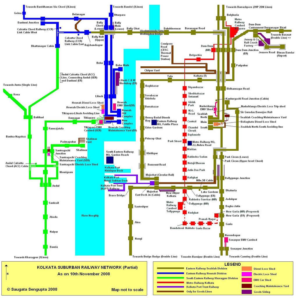 I want a map of Kolkata Suburban Railways - Railways FAQ - Railway ...