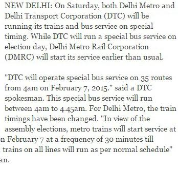 Special timings for Metro, DTC - Railway Enquiry