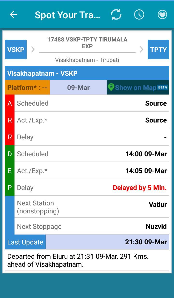 12861 Dakshin link which left VSKP at 16:15 has overtaken 17488.