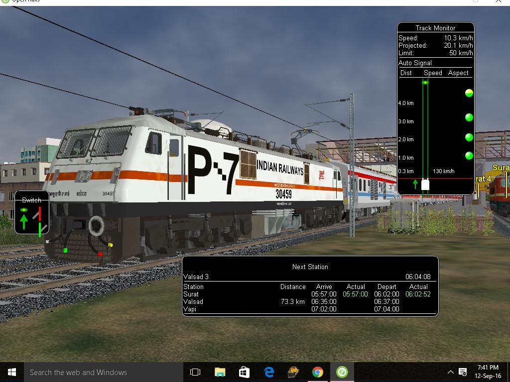 1991542-0: Open Rails:-AK Rajdhani with its New Loc 12954