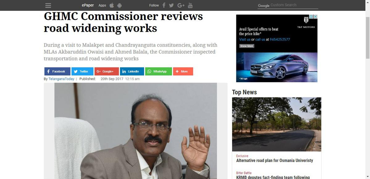 GHMC Commissioner reviews road widening works - Railway Enquiry