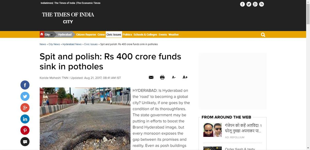 Spit and polish: Rs 400 crore funds sink in potholes | Hyderabad
